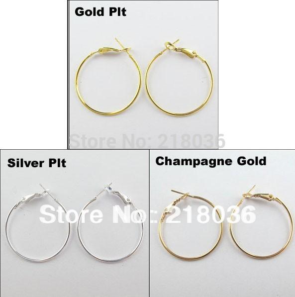 best selling 100Pcs Vintage Gold   Silver Fashion Jewelry Lot Circle Basketball Wives Hoops Earrings For Women 40mm A1773 DIY Metal