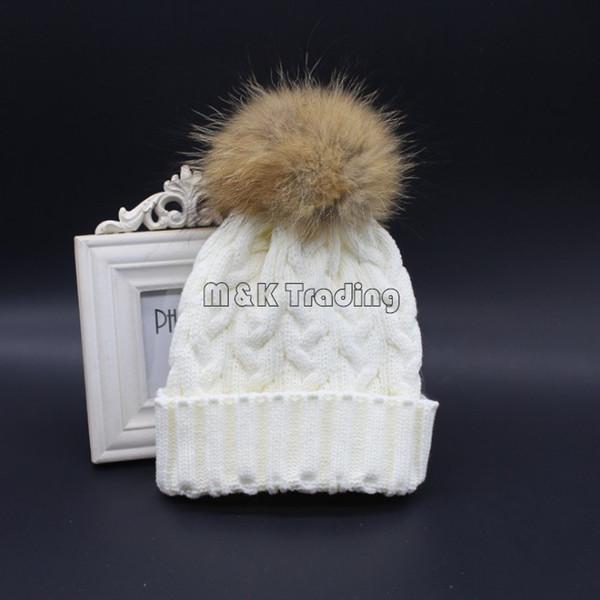 2017 New Fashion Soft Knit Caps Winter Warm Crochet Beanie Hat With Real Mink Fur Big Pompon Balls 6 Colors