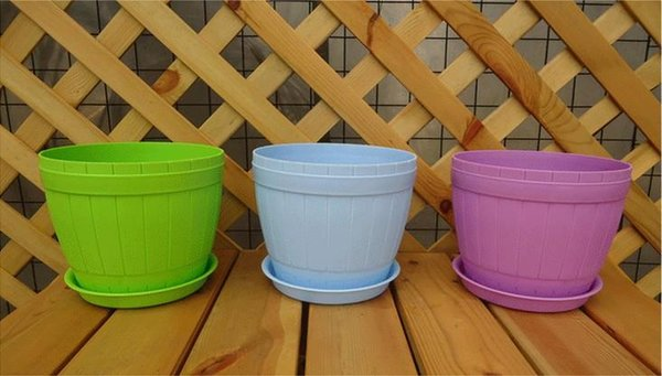 City 6 Colors Round Plastic Plant Pot/ Planter / Flower Pot with Pallet Tray Saucer for Decoration of Home Office Desk Garden Flower Shop