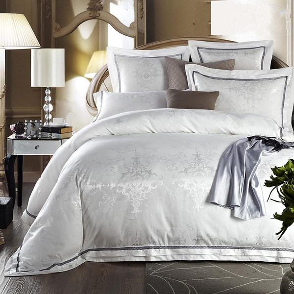 Wholesale Luxury White Jacquard Silk Satin Bedding Sets 6pcs For King Queen  Size Duvet/