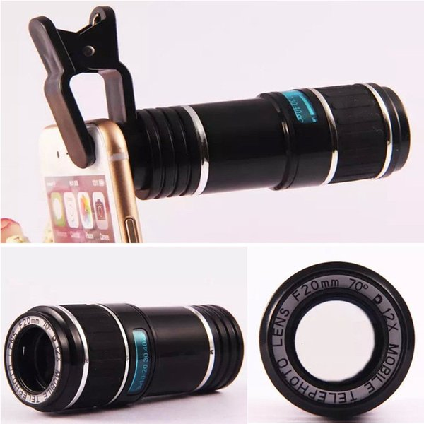 wholesale newest Universal 12x 70 Zoom Optical Lens Phone Telescope Camera Lens For iPhone for Samsung Clip Eightfold Magnifier with Holder