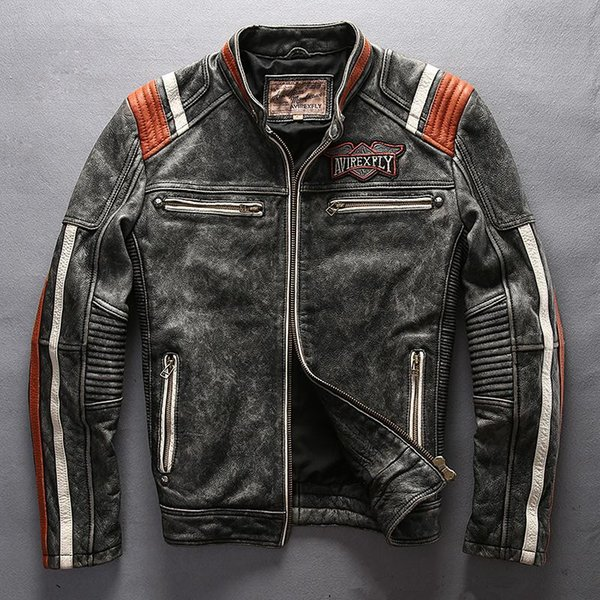 top popular 2017 Avirex fly leather jackets American customs motor spirit Indian head Embroidery vintage motorcycle jackets 2019