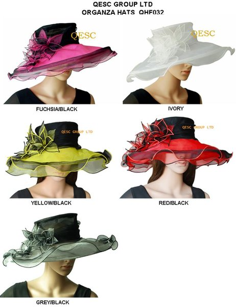 best selling Elegant wide brim organza hat  bridal hats with leaf flower for wedding party church races.5 colours,5pcs lot