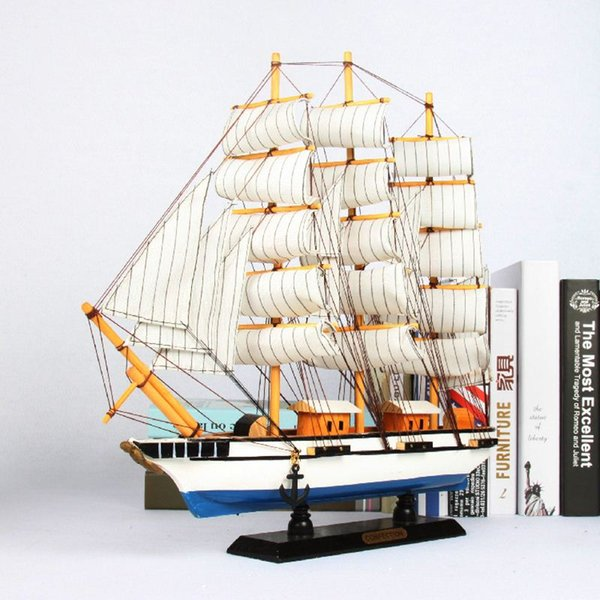 Mediterranean Style Wood Sailing Ship Models furnishing articles Creative Boat Nautical Home Decor Gifts Crafts