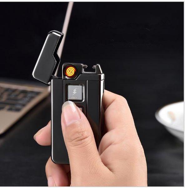 New Hot vente Dual-purpose Ignition Induction Touch Windproof Plasma Briquets USB Pulse Électronique Rechargeable Cigarette Lighter 1688