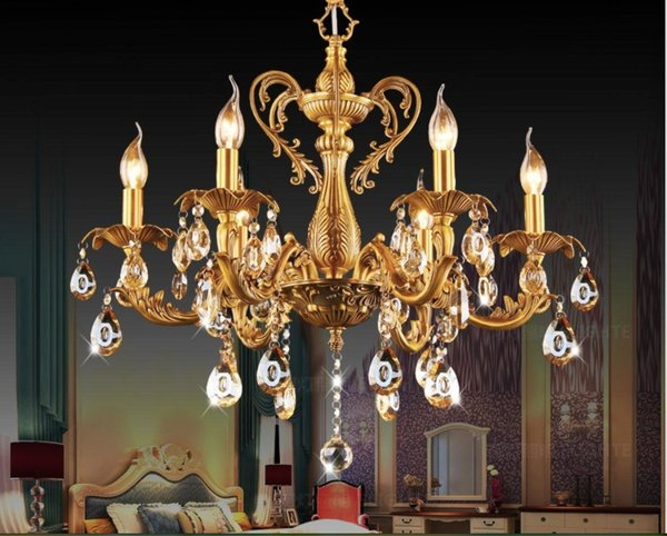 6L D620mm H580mm Bronze Fertige Messing Kristall Kronleuchter Beleuchtung  Luxuriöse Messing Kristall Lampe Lustre Suspension Licht
