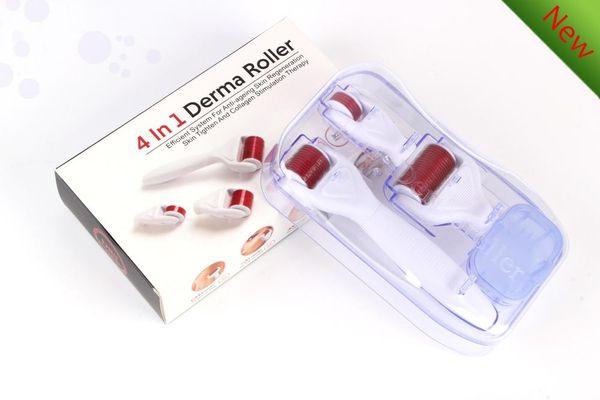 4 in 1 Microneedle Derma Rulo microneedle derma silindiri anti-wrikle cilt bakımı için yüz Derna Rulo