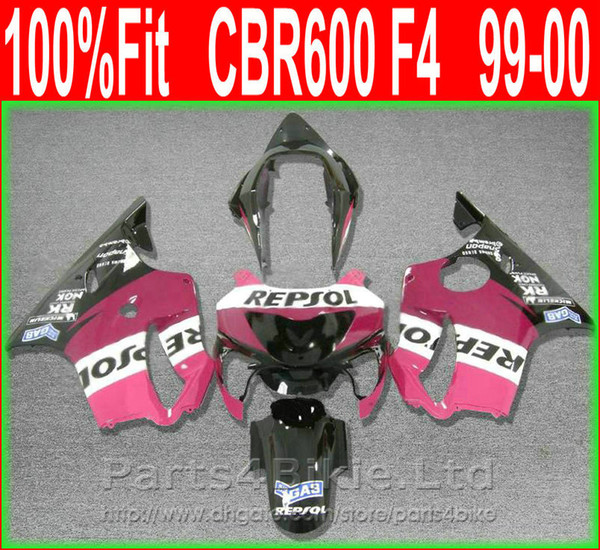 Pink REPSOL Body parts for Honda fairing CBR 600 F4 1999 2000 Injection Mold fairings kit CBR600 F4 99 00 VTDS