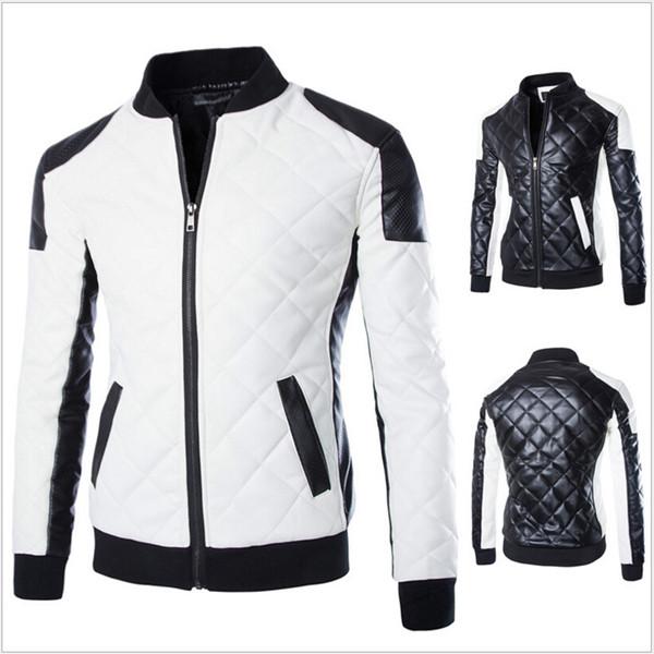 Großhandels- Neue Art und Weise PU-Leder-Jacken-Mann-Schwarz-Weiß-feste Mens Faux-Pelz-Mäntel Trend Slim Fit Jugend-Motorrad-Wildleder-Jacke Male