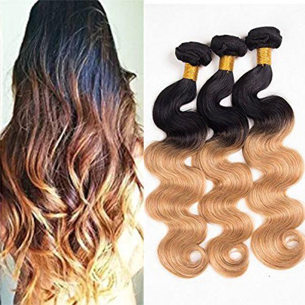 Brazilian Ombre Hair Bundles Body Wave Human Hair Extensions 3pcs Lot Cheap Ombre Virgin Hair Weave 1b/#27 Two Tone Free Shipping