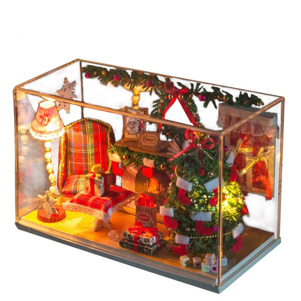 Wholesale  3D Handmade Doll House Furniture Miniatura Diy Christmas  Miniature Dollhouse Wooden Toys For Children