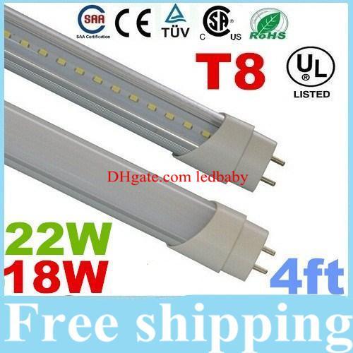 4ft 1.2m 1200mm T8 führte Leuchtröhren 18W 22W Warm / Natural / Cool White LED Leuchtstoffröhre AC 110-240V