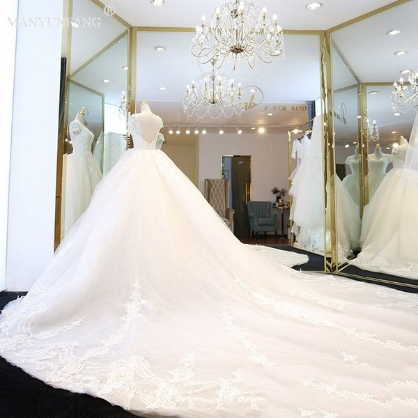 Cap Sleeves Castle Wedding Dresses 2018 Spring Asymmetrical Design ...