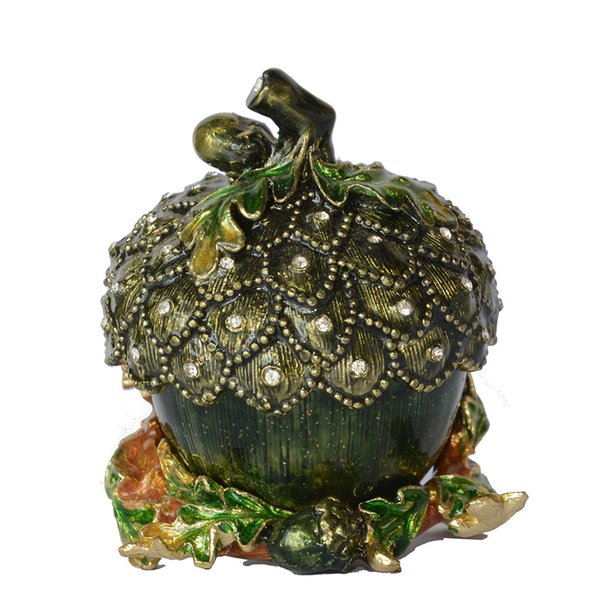 Hand Painted Enamelled Acorn Trinket Jewelry Box Necklace Holder Pewter Collectible Novelty Gift