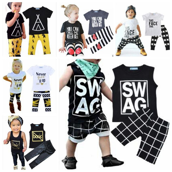 best selling Baby Clothes Kids Striped Letter T Shirts Pants Outfits Boys Grid Cross Tops Pants Suits Never Grow UP Cartoon Fashion Kids Clothing B3559