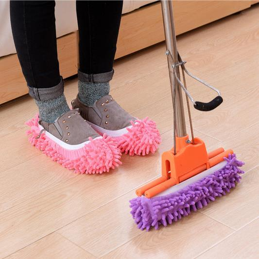 Multifunctional Chenille Micro Fiber Slipper Shoe Covers Clean Slippers Lazy Drag Shoe Mop Caps Household Tools