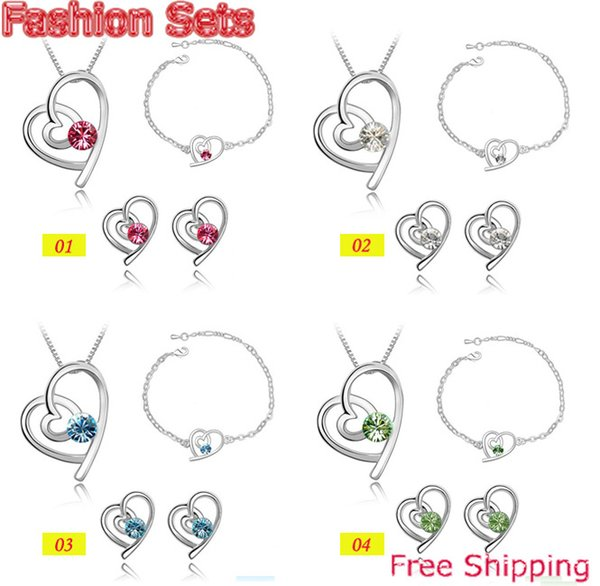 Bracelets Stud Earrings Necklaces Fashion Austria Zircon Crystal Necklace+Earrings+Bracelet Love Heart Jewelry Set Diamond Jewellry 4 Colors