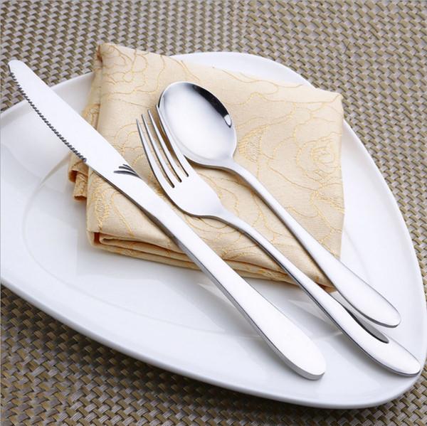 304 Stainless steel tableware steak knife and spoon Hotel Western-style food steak fork three & 304 Stainless Steel Tableware Steak Knife And Spoon Hotel Western ...