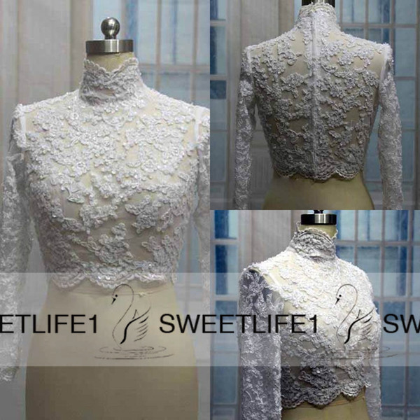 best selling Hot Sale Lace Bridal Wedding Jacket Coat High Neck Applique Beads Long Sleeves Bridal Wrap Bolero Custom Made Cheap High Quality Accessories