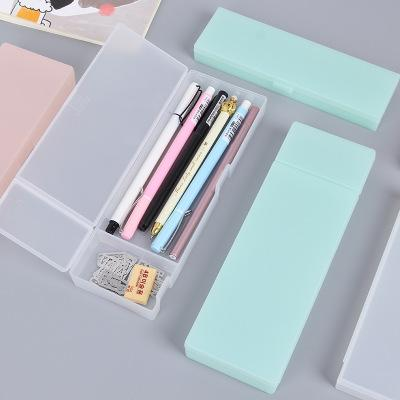 top popular Solid color translucent frosted plastic stationery pencil box simple multifunctional storage pen pencil box creative students pencil bags 2021