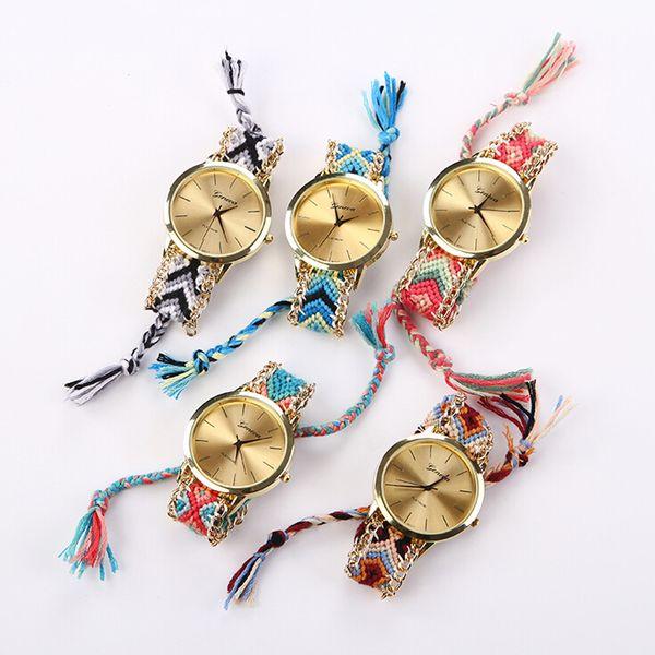 7 colores de la amistad con estilo trenzado cuerda pulsera Ginebra relojes Handcrafted tejidos de cuarzo tejidos a mano reloj de la mujer de la aleación de cadena WI19
