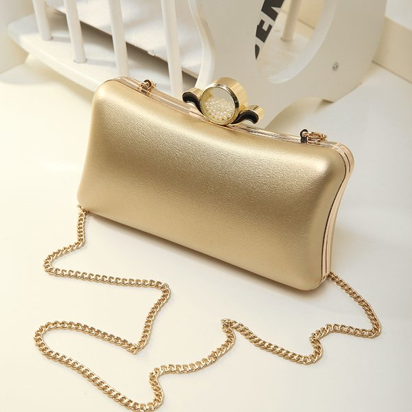 top popular Hot sale Women Clutch Evening Bags Black and Gold shoulder chain evening bags Fashion PU Leather Ladies clutches 2019