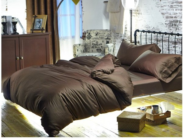 Luxury Brown 100% Egyptian cotton bedding sets sheets queen duvet cover king size bed in a bag linen double quilt doona bedsheet spread