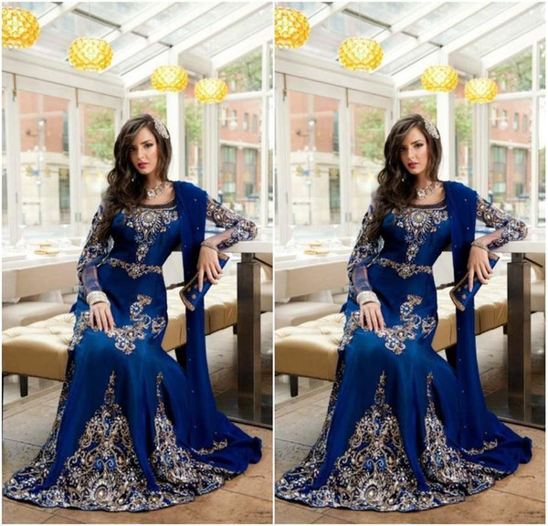 2020 Abaya Dubai Kaftan Königsblau Muslim Arabisch Langarm Abendkleider Applique Lace Crystal Plus Size Formelle Abendgarderobe