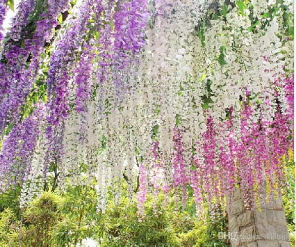 top popular Long Elegant Artificial Silk Flower Wisteria Vine Rattan For Wedding Centerpieces Decorations Bouquet Garland Home 4 colors H016 2021