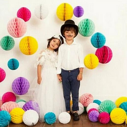 "500PCS 10""/12"" 25/30cm Paper Honeycomb Flower Ball Party Stage Background Wedding Decoration Birthday Holiday Festive Christmas Lanterns"
