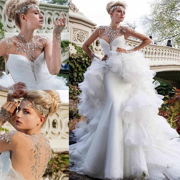 Glamorous Rhinestones Beaded Wedding Dresses 2016 Sheer High Neck Illusion Long Sleeve Mermaid Bridal Gowns With Detachable Train Vestidos