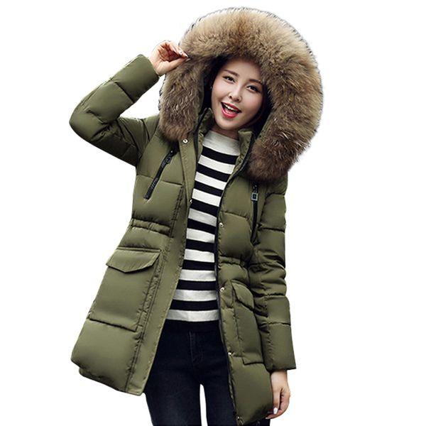 2017 de alta qualidade gola De Pele com capuz quente engrossar mulheres jaqueta de inverno casaco de algodão acolchoado parka outerwear das mulheres outerwear para as mulheres q171118