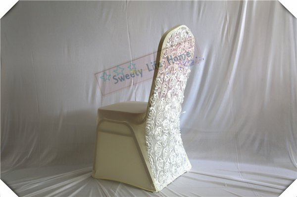 FREE SHIPPING Ivory wedding spandex chair covers with 3D Satin rosette fabric Free shipping wedding lycra chair covers