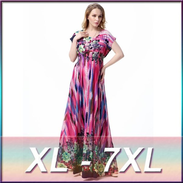 Wholesale Xl 7xl Large Plus Size Women'S Maxi Long Purple Roses ...