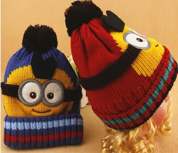 2018 2015 Christmas Novelty Kids Despicable Me Hat Minions Knitted