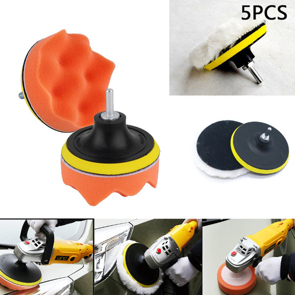 "best selling 5Pcs 4"" inches Gross Polishing Buffing Pad Kit Drill Adapter Car Polisher Buffer E00874"