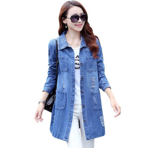 Wholesale- 2016 Spring Autumn Long Sleeve Women Denim Jacket Frayed Jeans Jacket Female Overcoat Jean Coats plus size women Outerwear