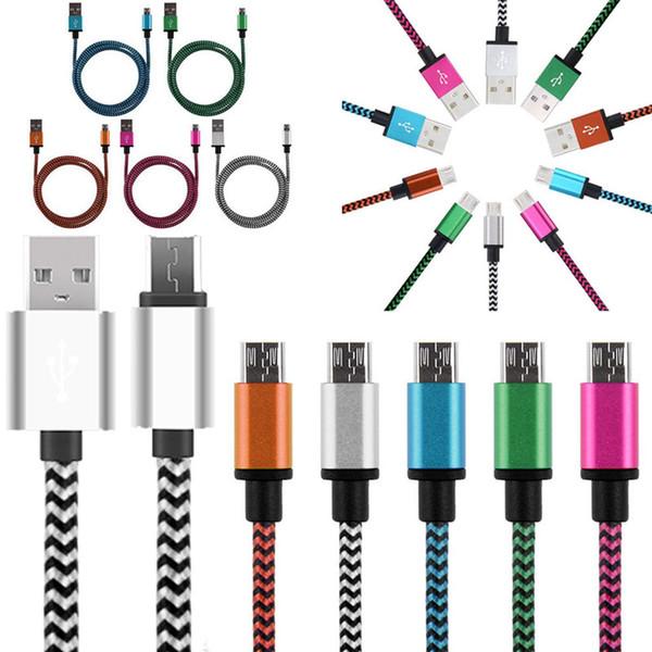 Naylon Kumaş Örgülü Veri Sync Mirco USB Kablosu Çift Renk Metal Arayüzü cep telefonu için USB Şarj Şarj Kabloları