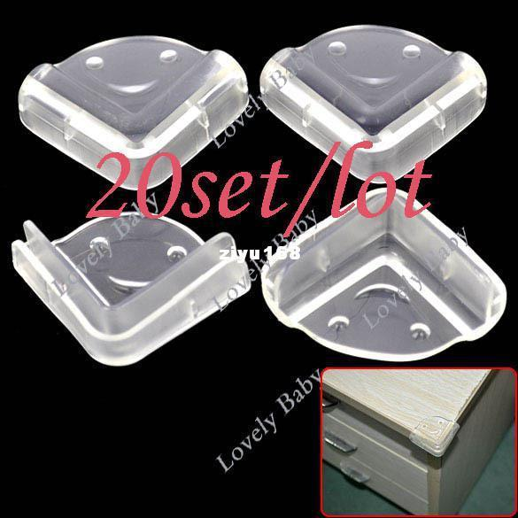 best selling Wholesale - 80pcs Clear Baby Safety Guard Protector Cushion Table Desk Corner Protector free shipping (20set lot