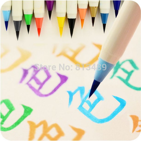 top popular 2015 Creative Platinum Japanese calligraphy Pens colorful new soft brushes pen chinese calligraphy brush 2021