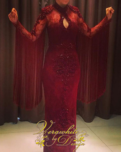 Saudi Arabia Mermaid Evening Dresses Jewel Neck Long Sleeves Red Lace with Patterned Beads Zipper Back Formal Party Gowns Custom 2016