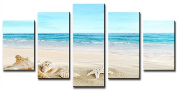 Top-Rated Large HD Canvas Print for Living Room Starfish Shell & Blue Sea, 5 panel Wall Art Picture/Photo Painting Artwork F/847
