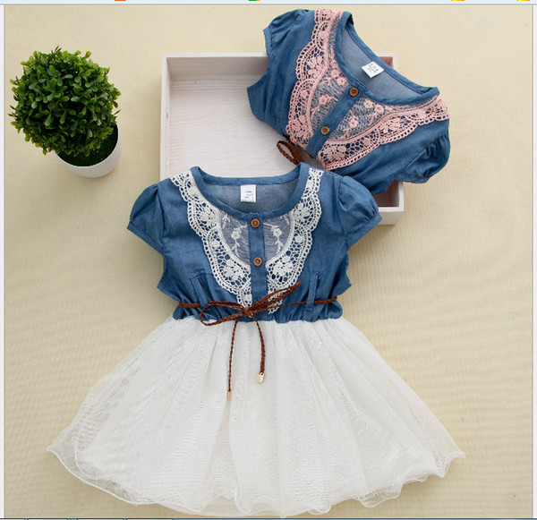best selling 2016 Girls Denim Tutu Dresses Summer Children Short Sleeve Flower Lace Blet Cowboy Net Yarn Casual Dress Via DHL Fedex UPS Free Ship