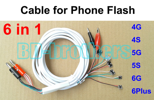 6 in 1 Repair Professional DC Power Line Supply Flash Phone Root The System 100cm Current Test Cable for 4G 4S 5G 5S 6G 6Plus 100pcs.