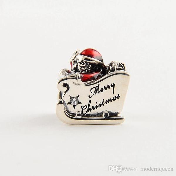 Trineo de Santa encantos flotantes S925 plata esterlina se adapta a la pulsera de estilo pandora envío gratis H8 792004CZ