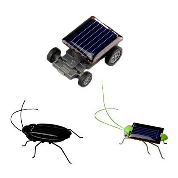 Lovely Mini Kids Solar Powered Giocattoli per bambini Locust Solar Crazy Grasshopper Giallo e verde Solar Power Robot insetto Bug Moving Toy