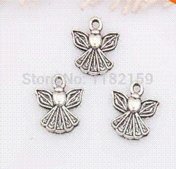 Free Shipping 200Pcs Tibetan Silver Angel Wings Charms Pendants 13x12mm For Jewelry Making Craft DIY Fit European Bracelet