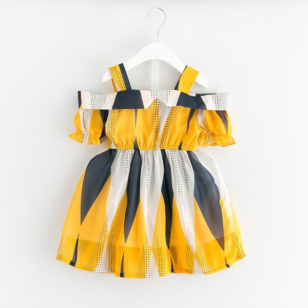 Ragazze Chiffon Abiti geometrici Manicotto con cappuccio a un collo Asimmetrico colore giallo a contrasto Plus Puntini stampati Moda bambini Summer Skirt 2-8T