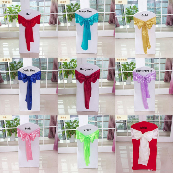 50pcs Wedding Chair Sash Satin Colorful Wedding Chair Cover Bows For Weddings Events &Party Decoration HOt Sale