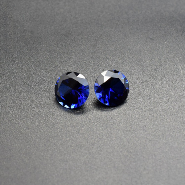 Big Sizes Synthetic Sapphire Color Blue Corundum Loose Stones Round 7-12mm Lab Created Cubic Gems CZ For Jewelry Making 200pcs/lot